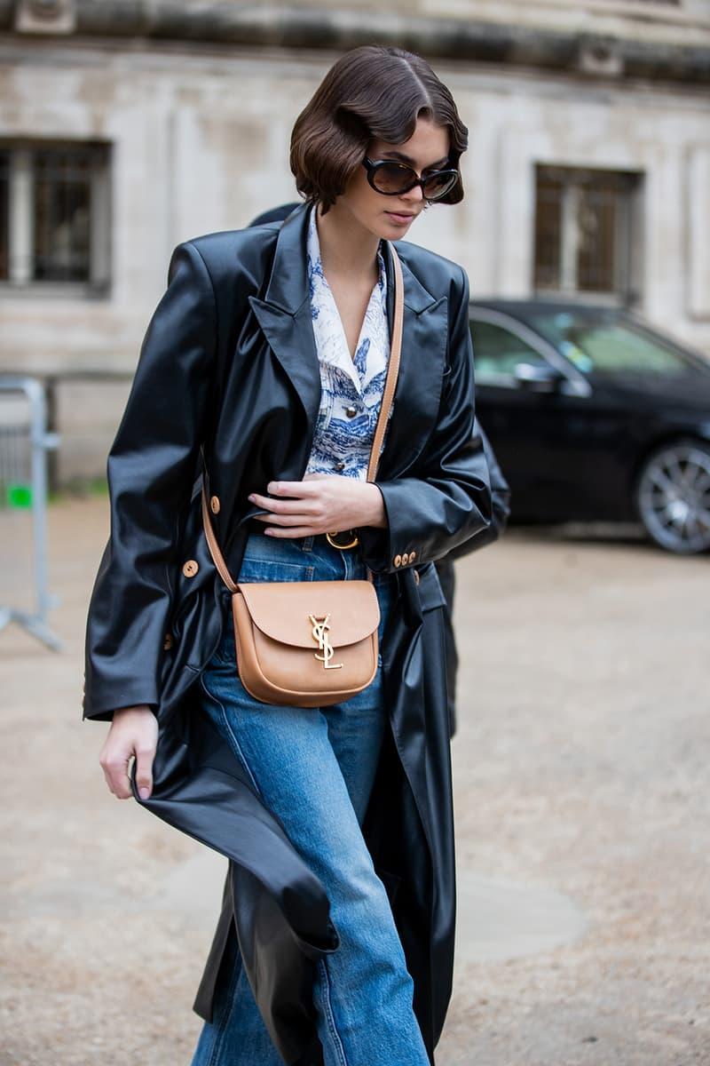 best celebrity style kaia gerber nanushka leather blazer
