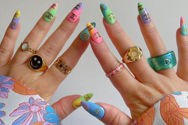 best spring nail polish art trends manicure hard soft gel acrylic beauty chanel monogram logo nude brown white green pink purple blue rings jewelry