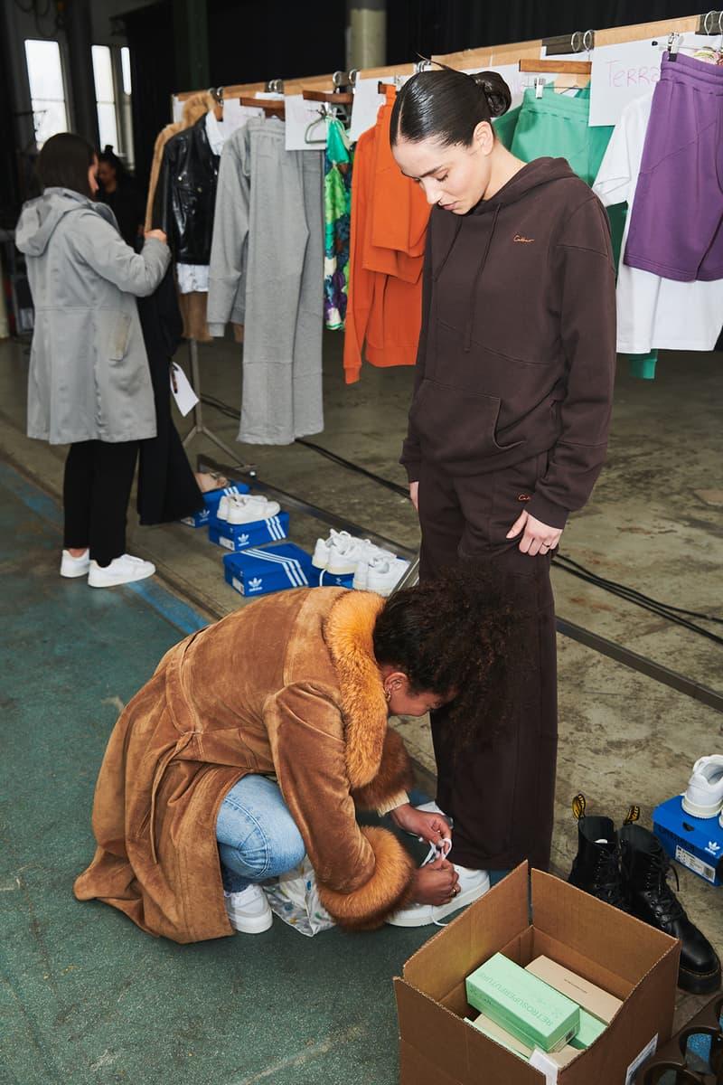 Daniëlle Cathari Designer Amsterdam Fashion Week Spring Summer 2020 SS20 Presentation Model hoodie brown backstage