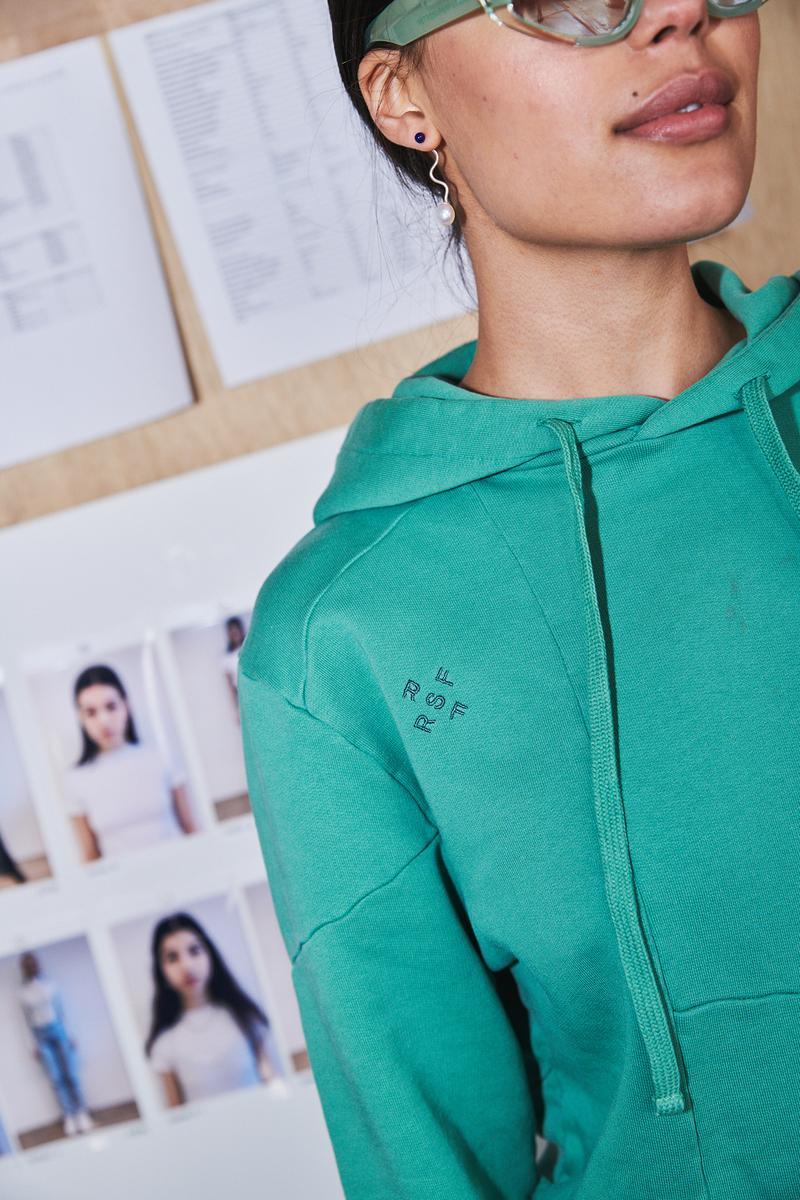 Daniëlle Cathari Designer Amsterdam Fashion Week Spring Summer 2020 SS20 Presentation Model retrosuperfuture hoodie turquoise green collaboration