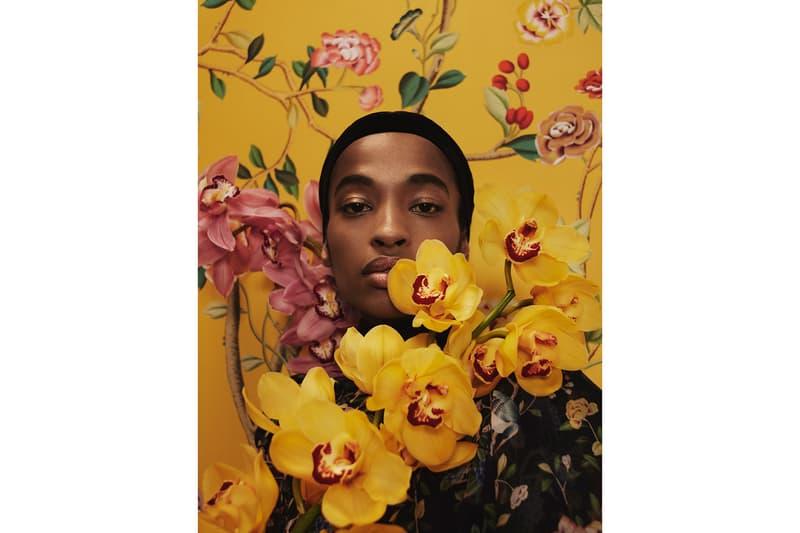 Erdem de Gournay Collaboration Floral Mint Green Yellow Wallpaper Dresses Home Interior