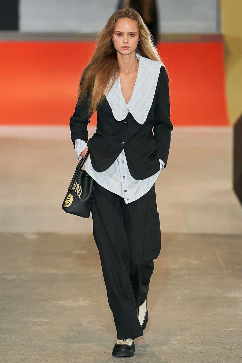 GANNI Fall/Winter 2020 Runway Collection Copenhagen Black Suit Shirt