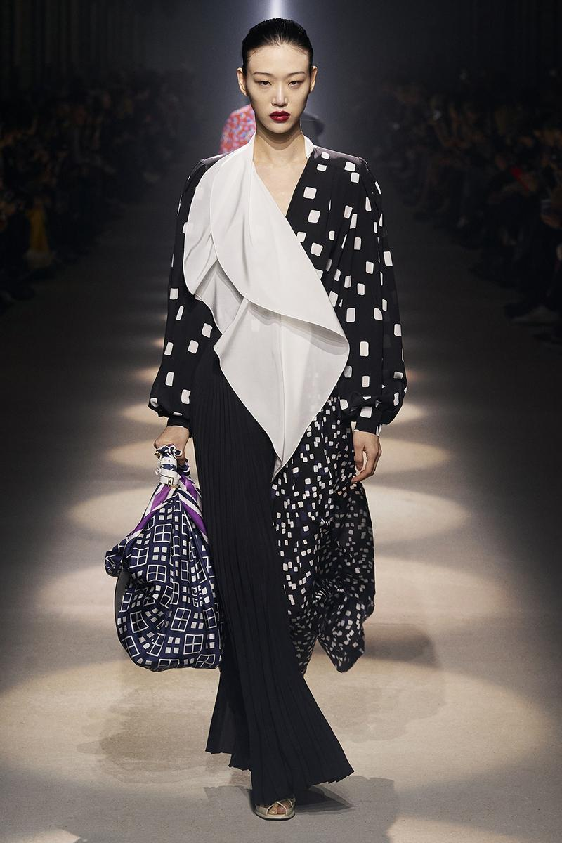givenchy paris fashion week fall winter womens collection clare waight keller runway show kaia gerber adut akech red black white gown pants shirred blouse