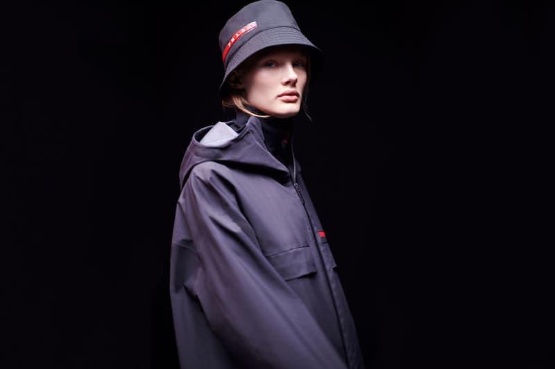 Prada Linea Rossa Bucket Hat Red Logo Anorak Jacket Windbreaker Campaign Designer Sportswear