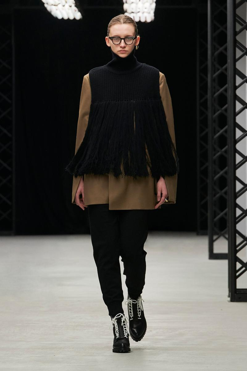 HYKE Fall/Winter 2020 Collection Runway Show Fringe Top Pants Black
