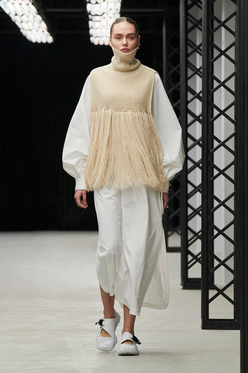 HYKE Fall/Winter 2020 Collection Runway Show Fringe Top Beige