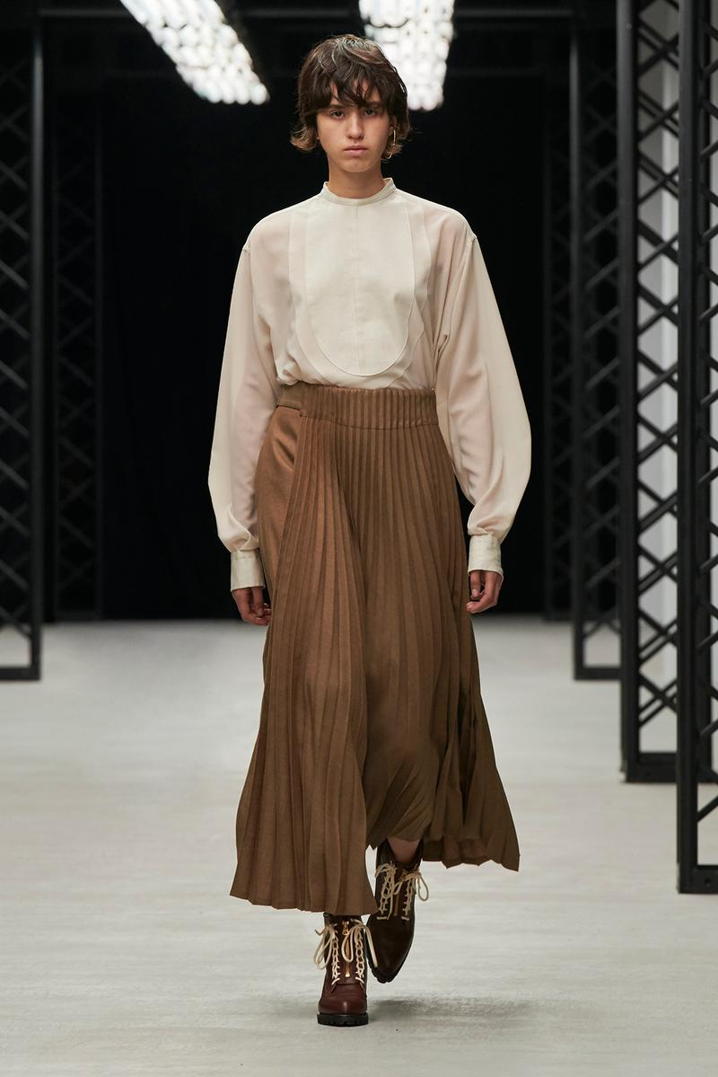 HYKE Fall/Winter 2020 Collection Runway Show Pleated Skirt Brown