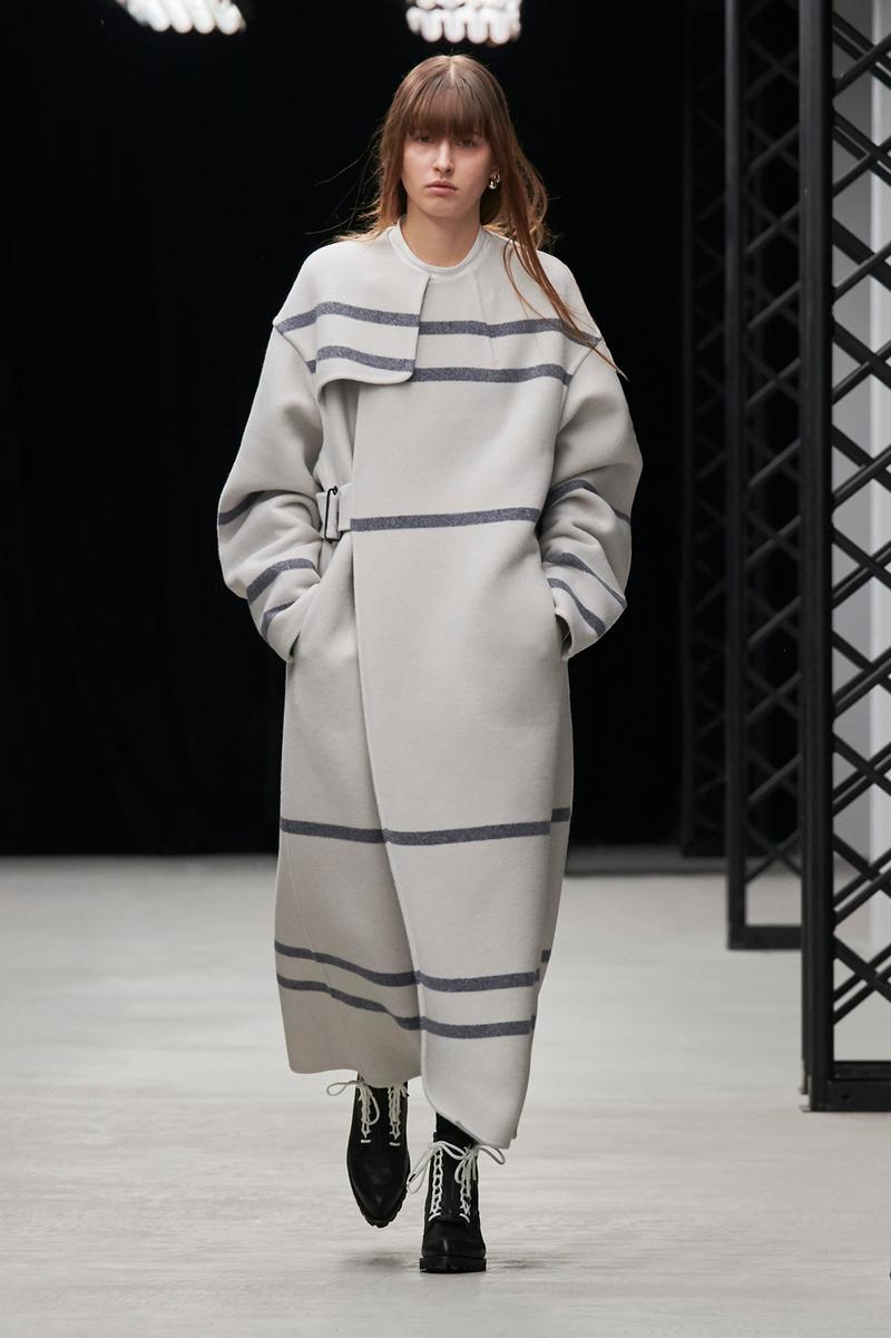 HYKE Fall/Winter 2020 Collection Runway Show Striped Coat