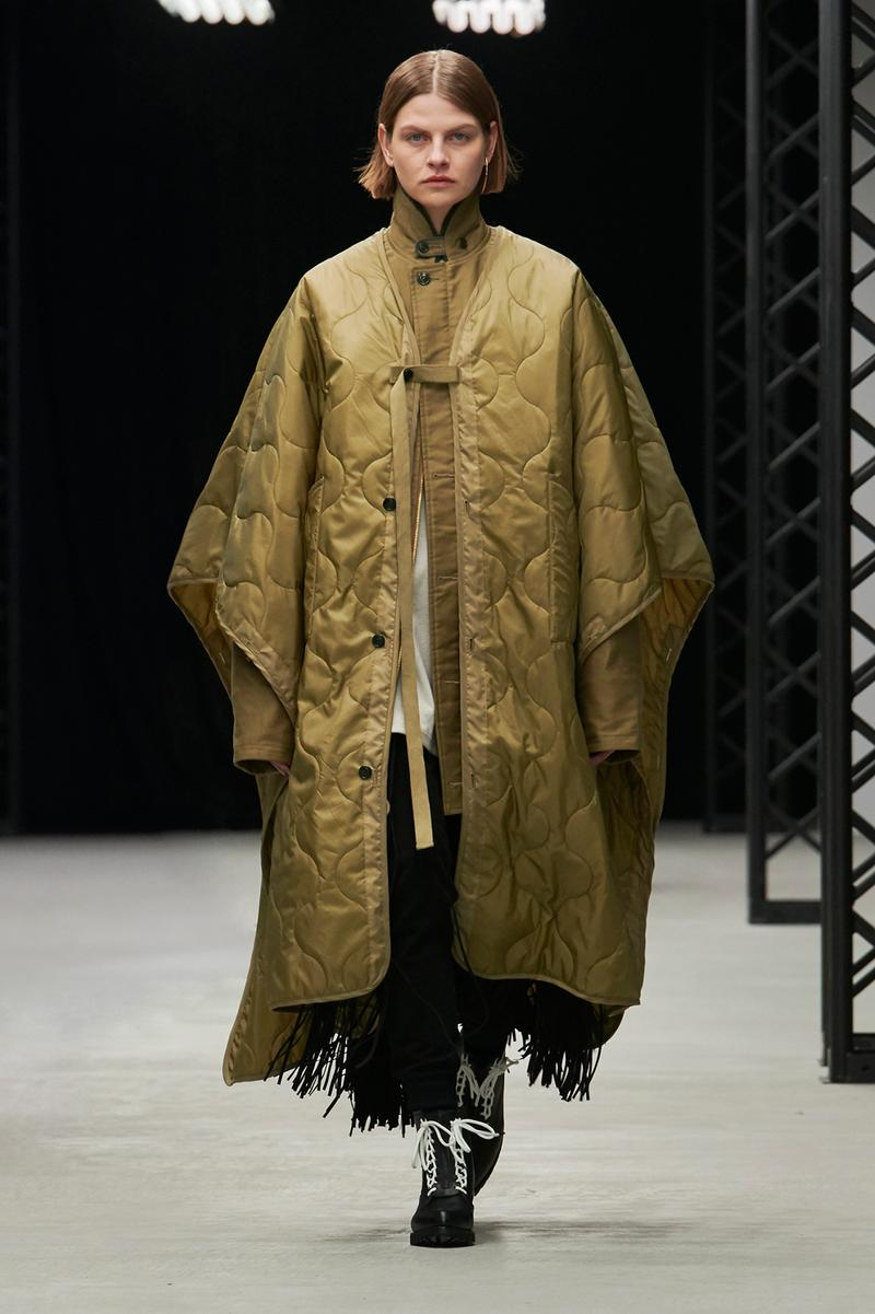 HYKE Fall/Winter 2020 Collection Runway Show Poncho Green