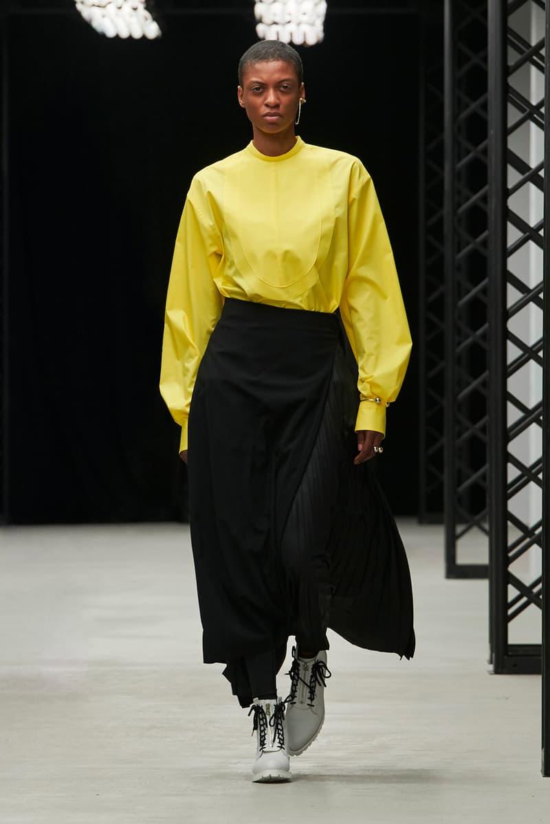 HYKE Fall/Winter 2020 Collection Runway Show Top Yellow Skirt Black