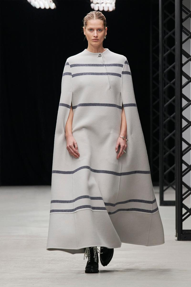 HYKE Fall/Winter 2020 Collection Runway Show Striped Poncho