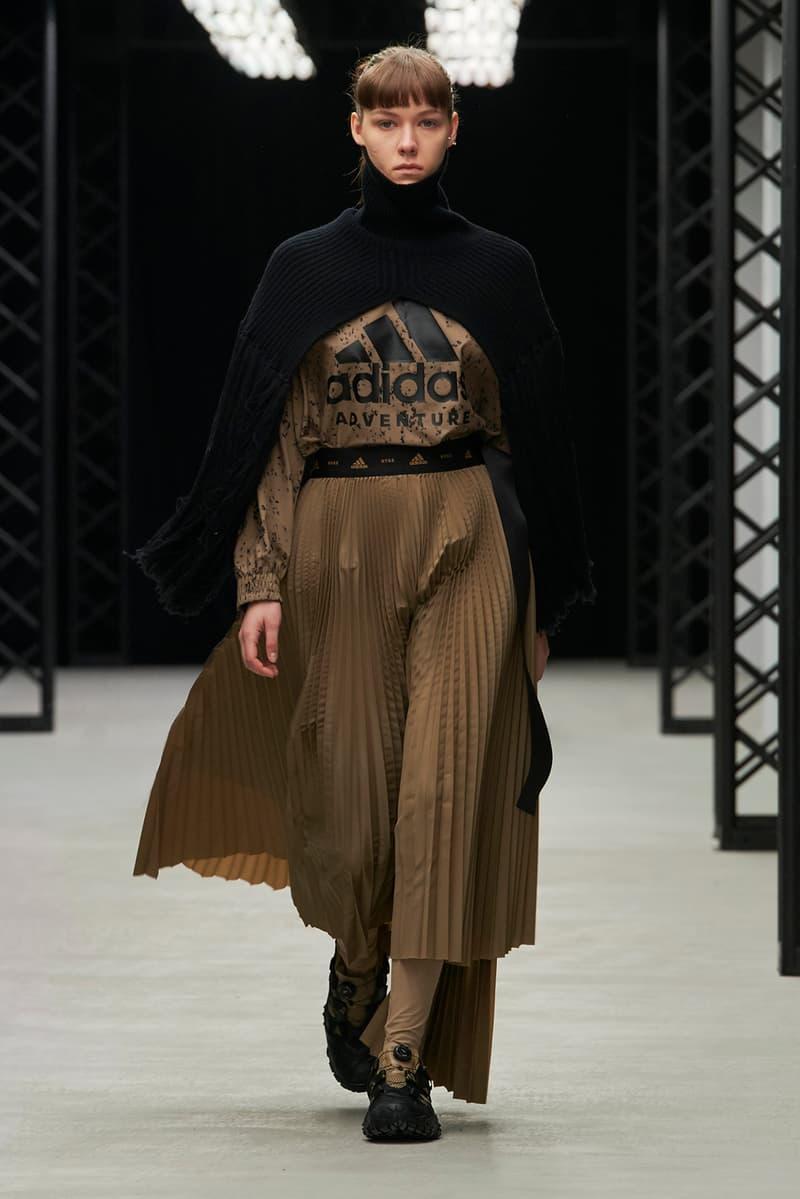 HYKE Fall/Winter 2020 Collection Runway Show adidas Shirt Skirt Brown