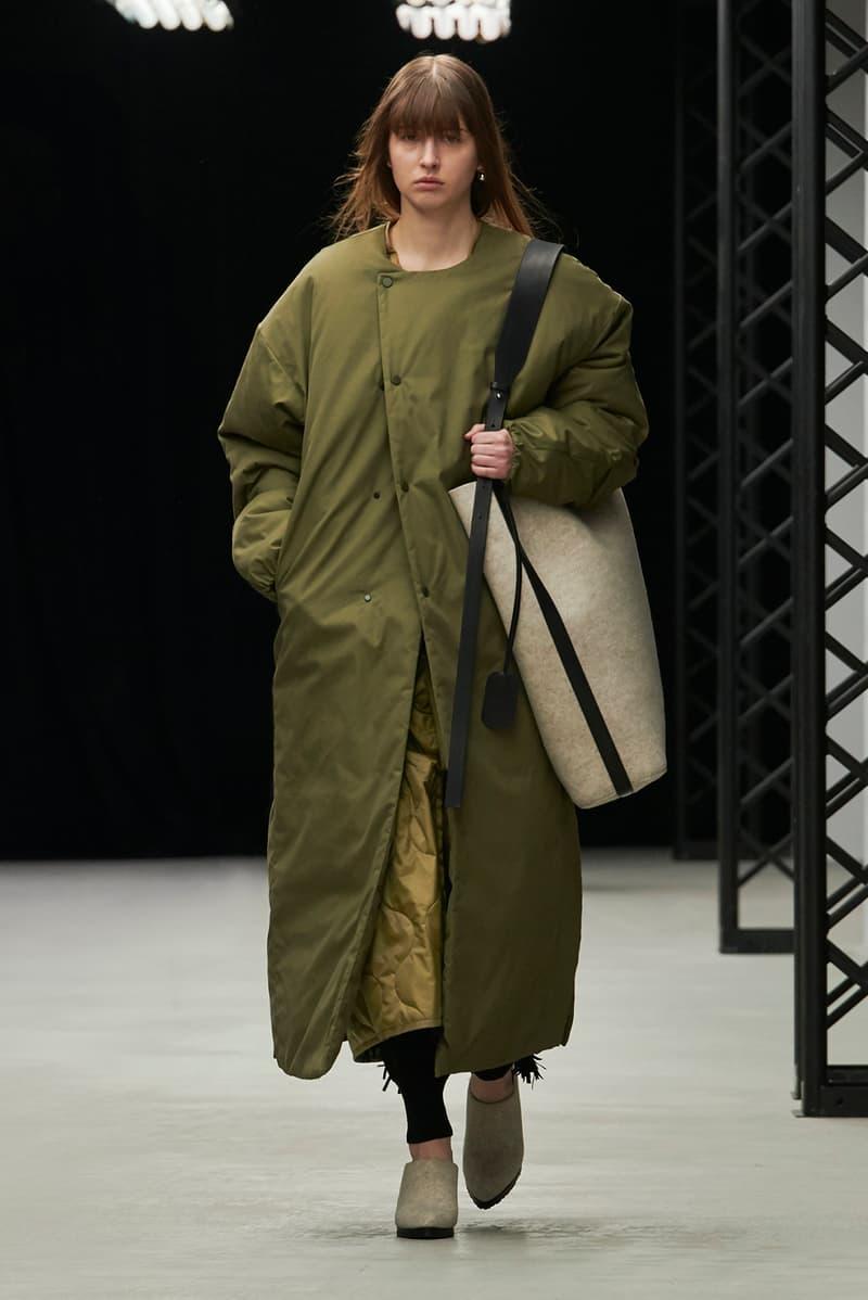 HYKE Fall/Winter 2020 Collection Runway Show Coat Green