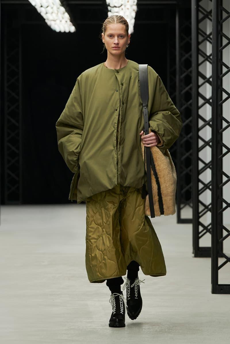 HYKE Fall/Winter 2020 Collection Runway Show Jacket Skirt Green