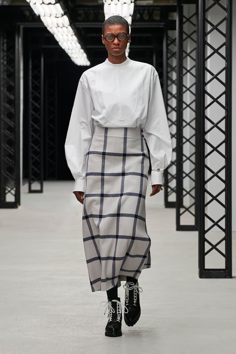 HYKE Fall/Winter 2020 Collection Runway Show Striped Skirt