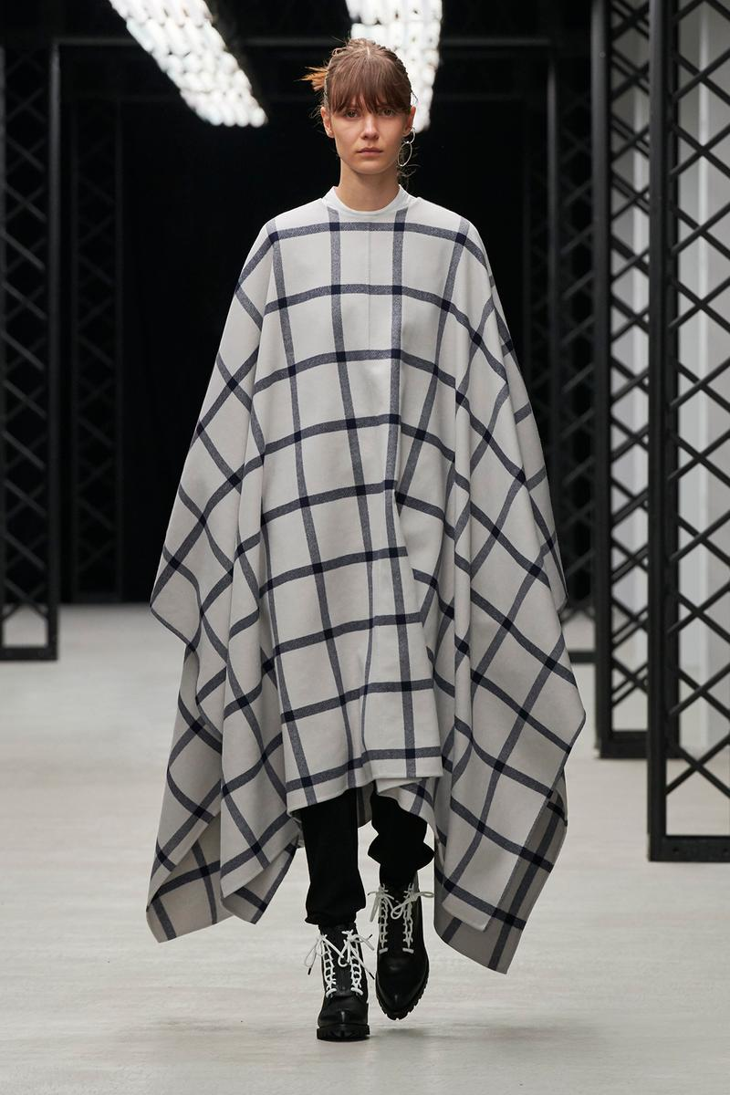 HYKE Fall/Winter 2020 Collection Runway Show Check Poncho