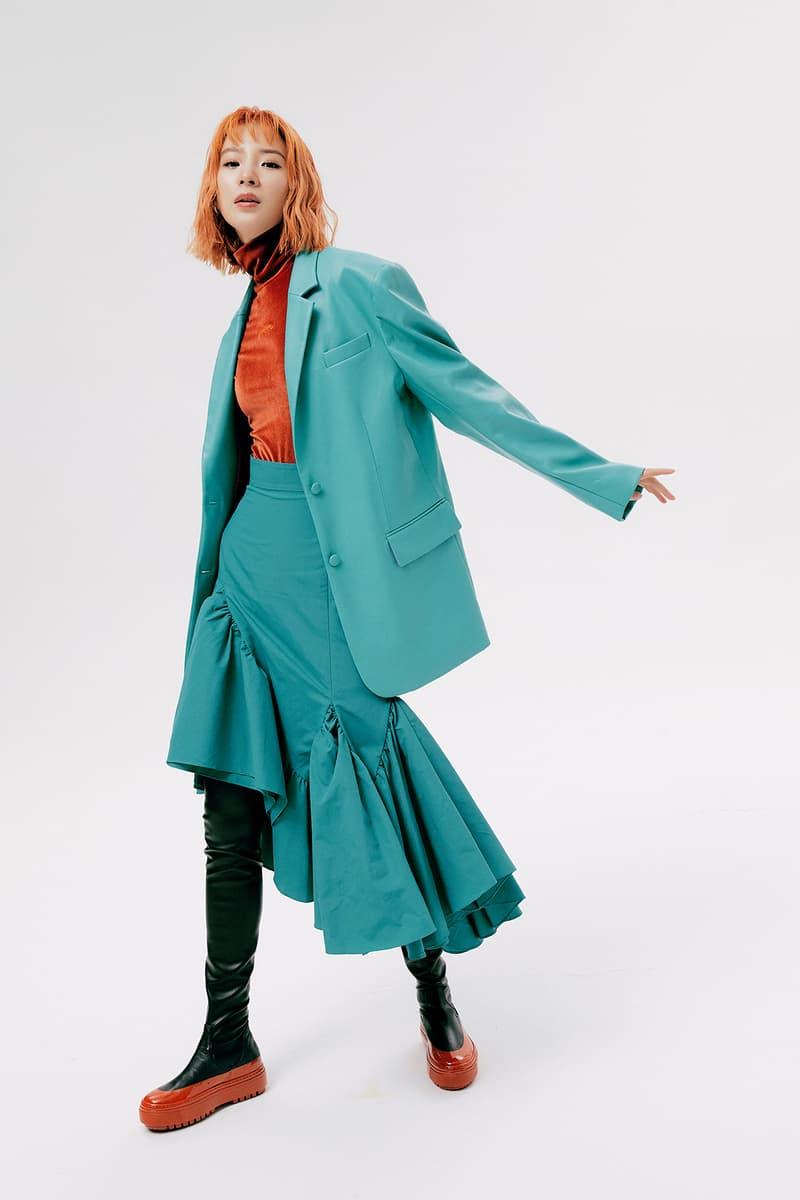IRENEISGOOD Label Fall/Winter 2020 Collection Lookbook Jacket Ruffle Skirt Teal