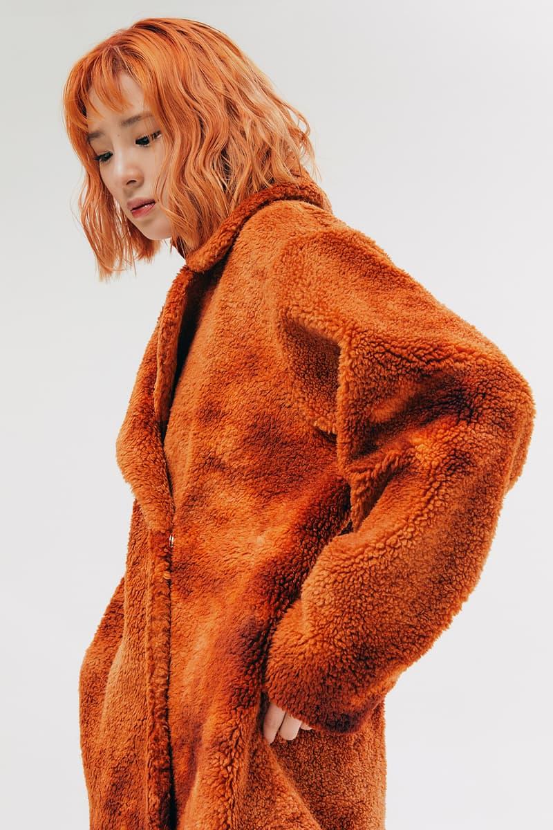 IRENEISGOOD Label Fall/Winter 2020 Collection Lookbook Faux Fur Coat Orange