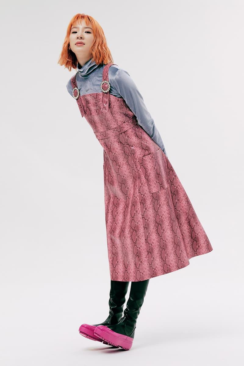 IRENEISGOOD Label Fall/Winter 2020 Collection Lookbook Snakeskin Dress Pink