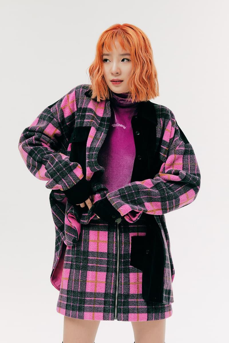 IRENEISGOOD Label Fall/Winter 2020 Collection Lookbook Plaid Jacket Skirt Pink