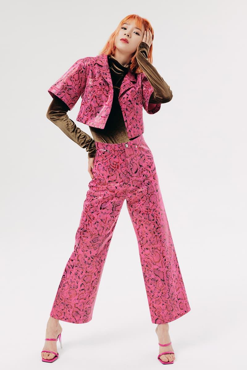 IRENEISGOOD Label Fall/Winter 2020 Collection Lookbook Snakeskin Jacket Pants Pink