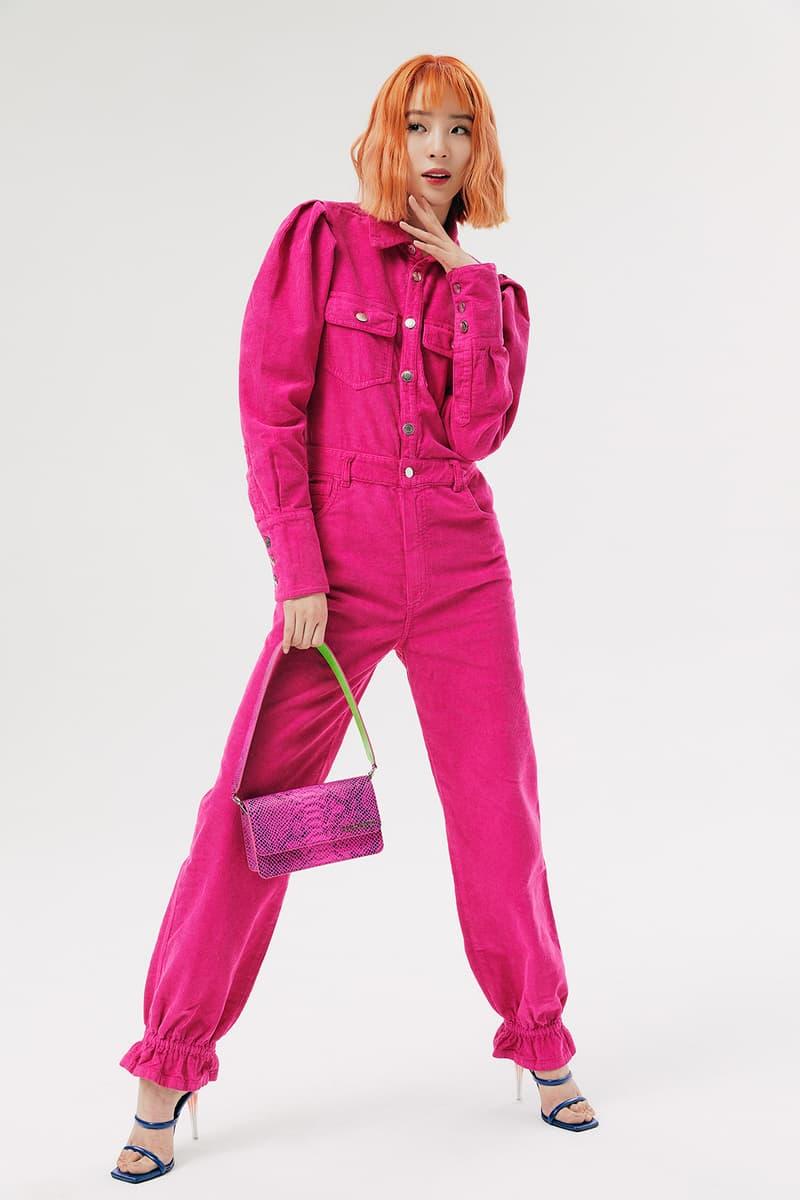 IRENEISGOOD Label Fall/Winter 2020 Collection Lookbook Jumpsuit Pink Corduroy