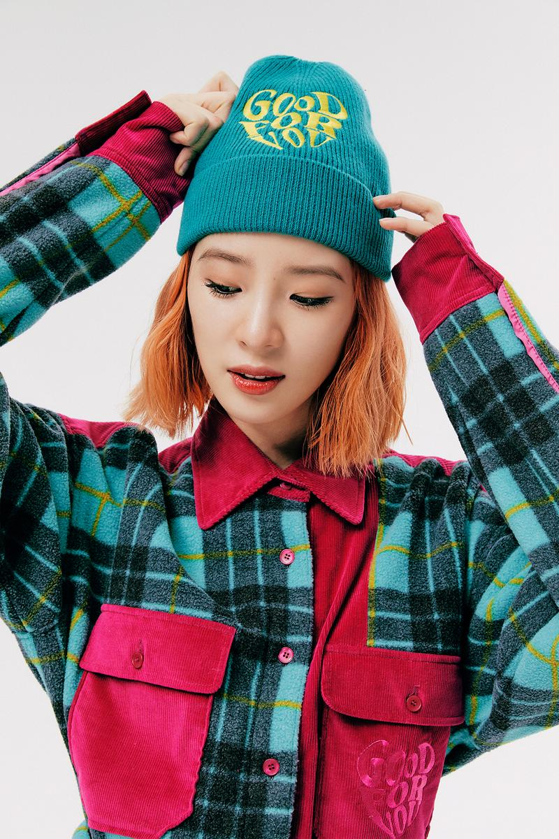IRENEISGOOD Label Fall/Winter 2020 Collection Lookbook Jacket Plaid Teal Pink