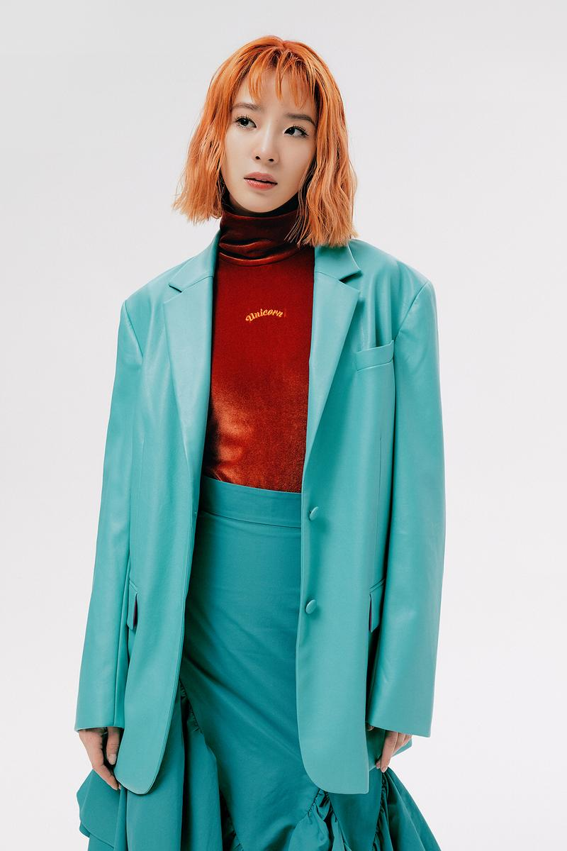 IRENEISGOOD Label Fall/Winter 2020 Collection Lookbook Jacket Skirt Teal