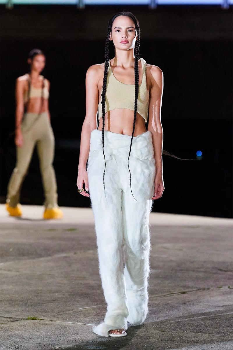 Kanye West YEEZY Season 8 Show Paris Fashion Week Runway Model Bralette Crop Top Pants