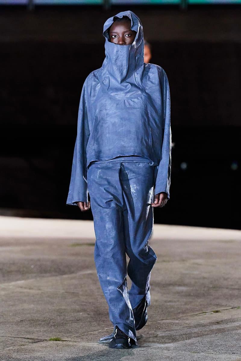 Kanye West YEEZY Season 8 Show Paris Fashion Week Runway Model hoodie blue pants