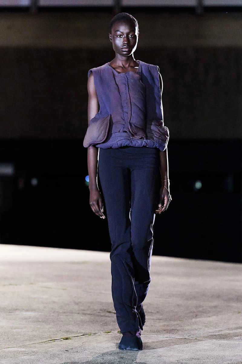 Kanye West YEEZY Season 8 Show Paris Fashion Week Runway Model blue vest jacket pants