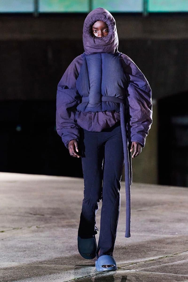 Kanye West YEEZY Season 8 Show Paris Fashion Week Runway Model blue purple puffer jacket slides sandals