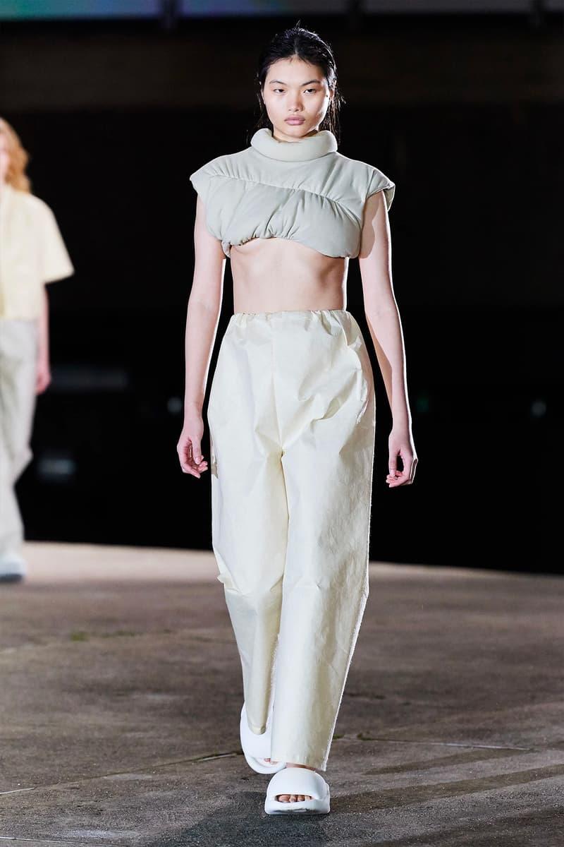 Kanye West YEEZY Season 8 Show Paris Fashion Week Runway Model crop top pants slides sandals