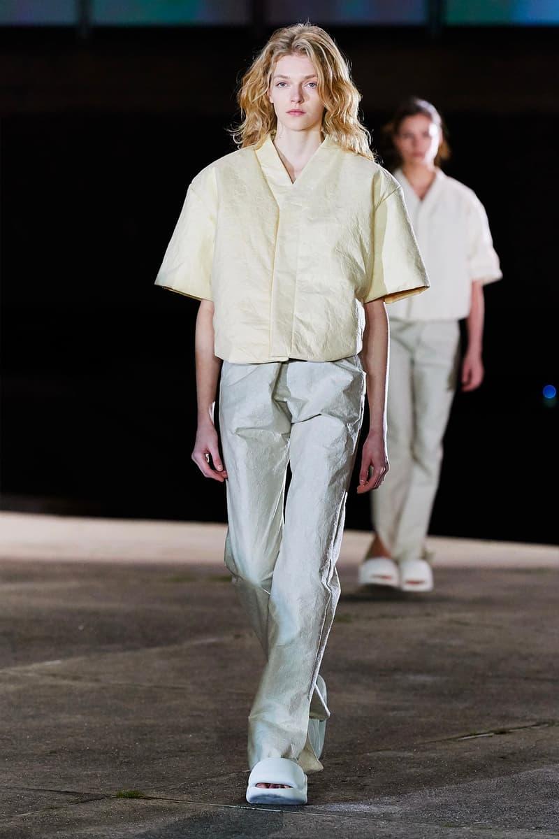 Kanye West YEEZY Season 8 Show Paris Fashion Week Runway Model short sleeve pants slides sandals