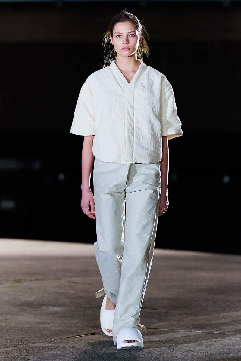 Kanye West YEEZY Season 8 Show Paris Fashion Week Runway Model sandals slides short sleeves top