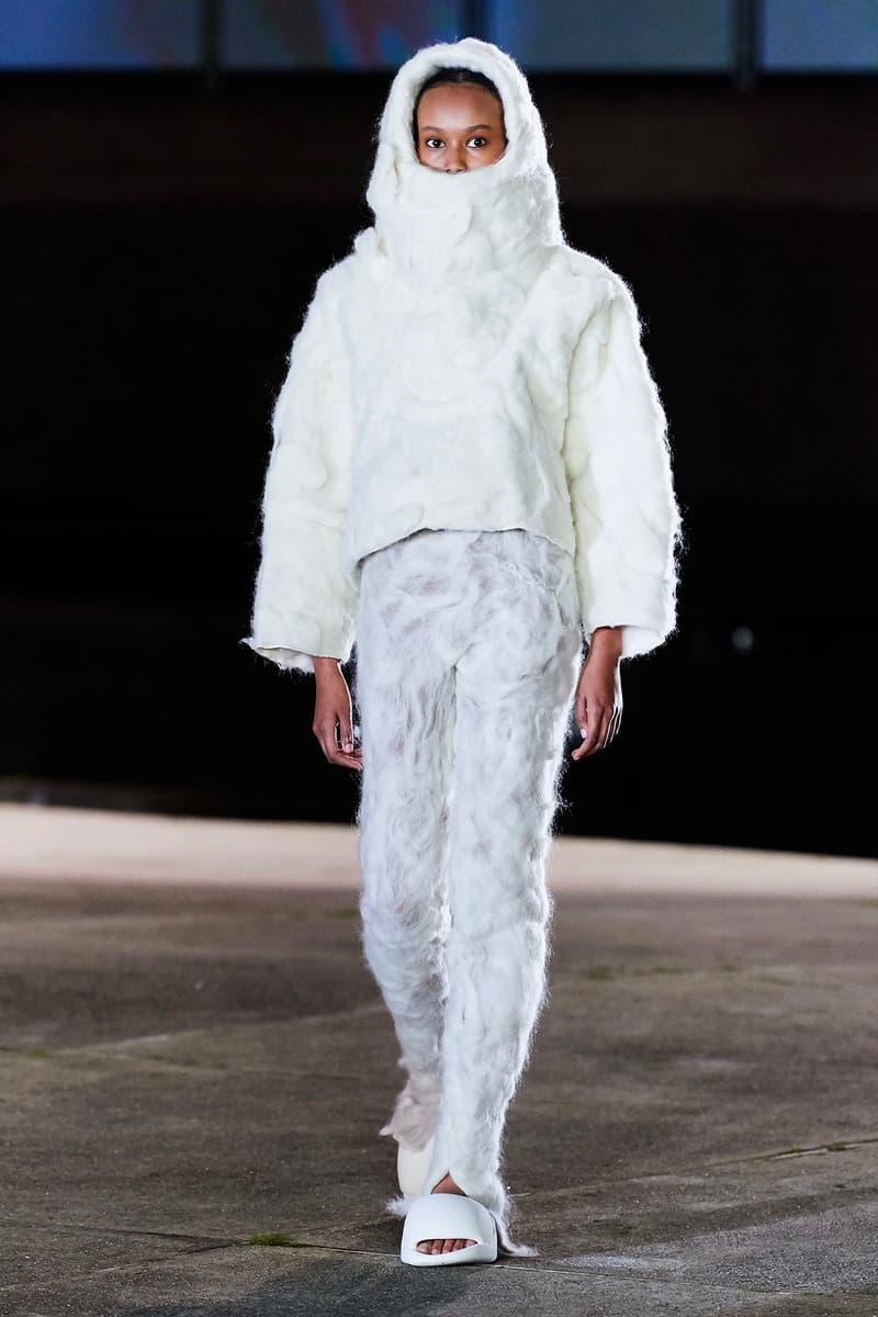 Kanye West YEEZY Season 8 Show Paris Fashion Week Runway Model jacket white fuzzy hairy pants slides sandals