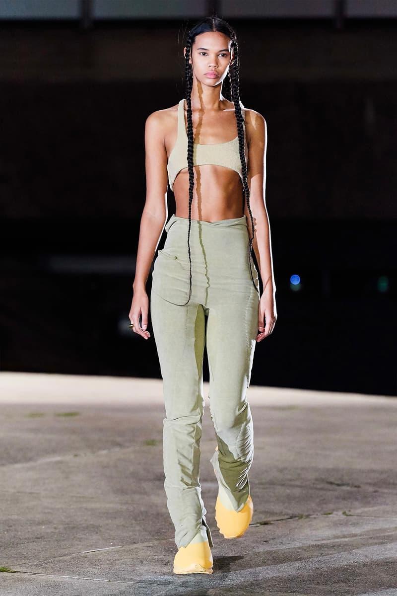 Kanye West YEEZY Season 8 Show Paris Fashion Week Runway Model Bralette Pants chunky boots shoes