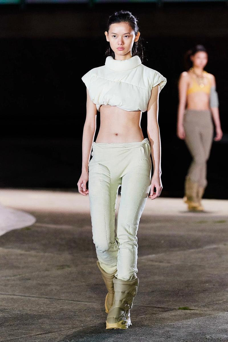 Kanye West YEEZY Season 8 Show Paris Fashion Week Runway Model crop top pants boots