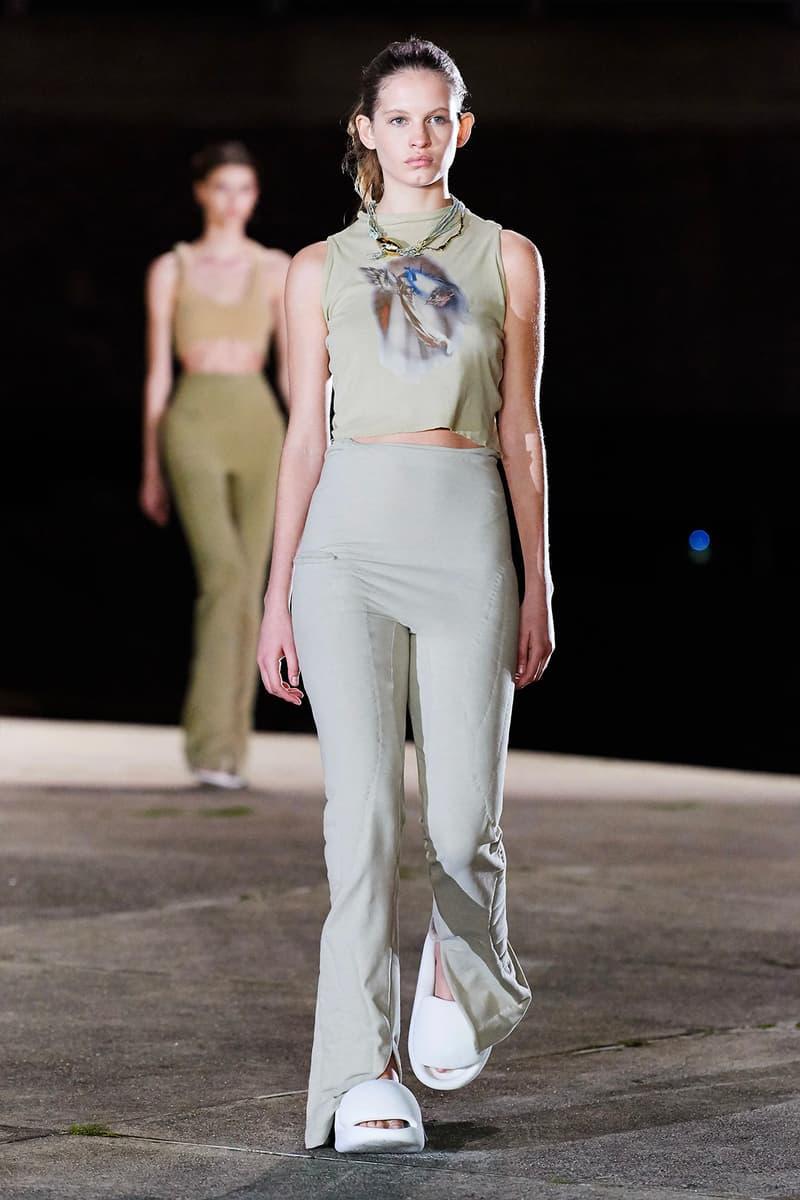 Kanye West YEEZY Season 8 Show Paris Fashion Week Runway Model white sandals slides
