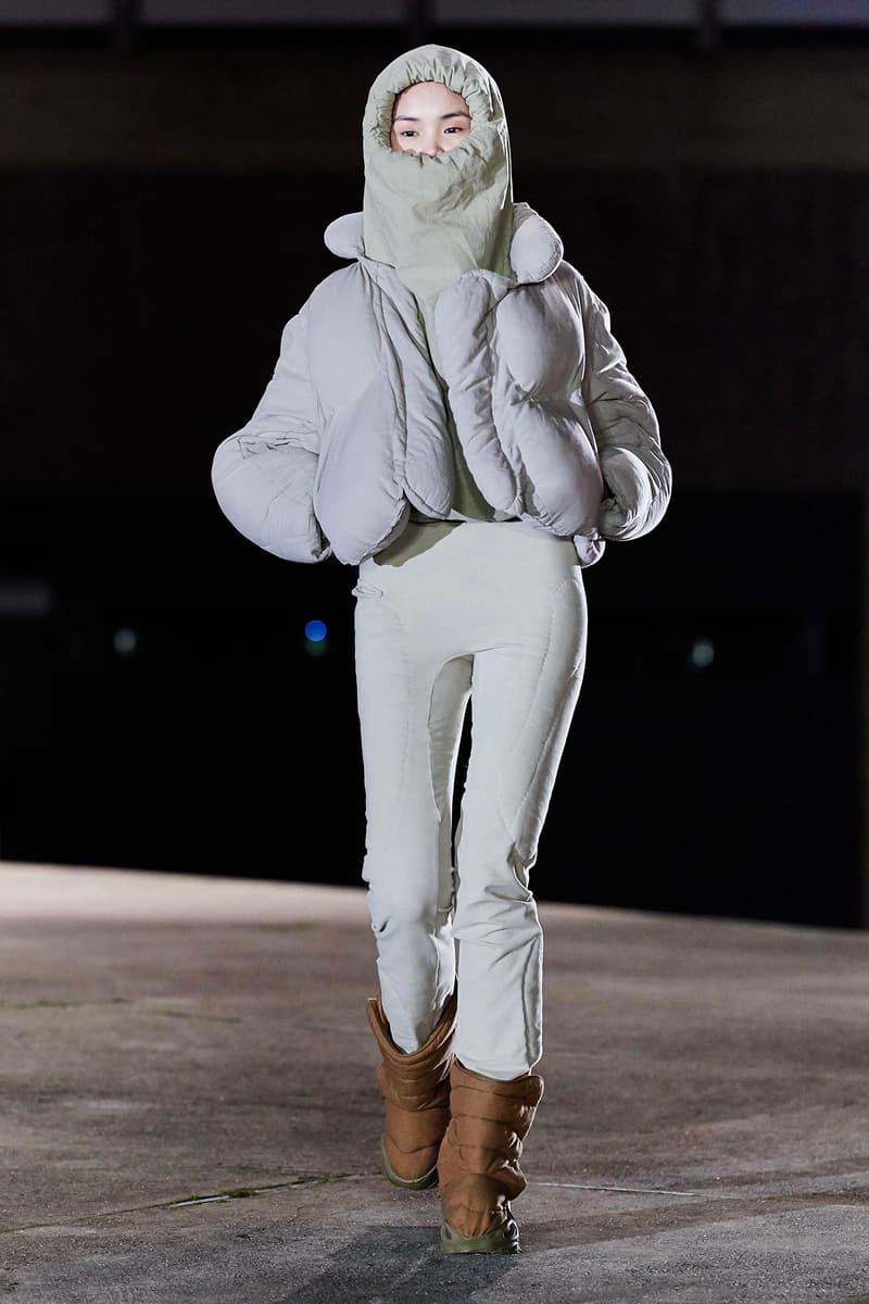 Kanye West YEEZY Season 8 Show Paris Fashion Week Runway Model puffer jacket hoodie boots