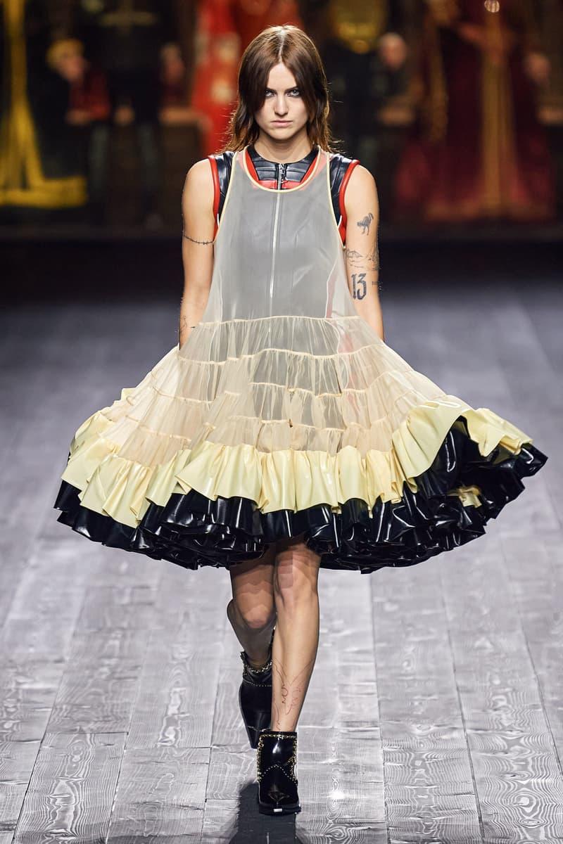 Louis Vuitton Fall/Winter Collection Runway Show Ruffle Dress Sheer Beige