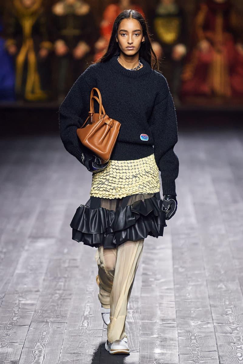 Louis Vuitton Fall/Winter Collection Runway Show Sweater Black Ruffle Skirt