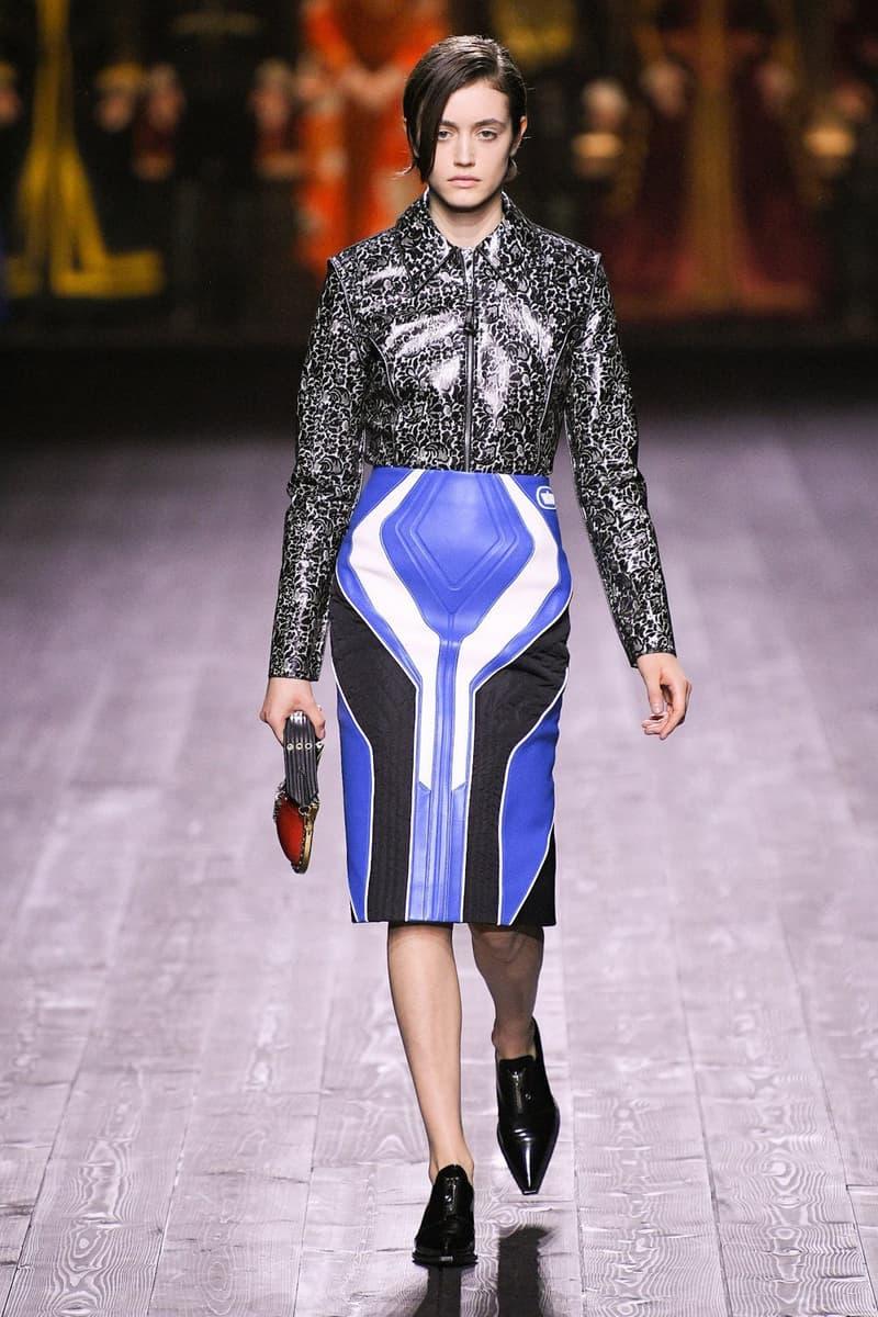 Louis Vuitton Fall/Winter Collection Runway Show Moto Skirt Blue Patent Top