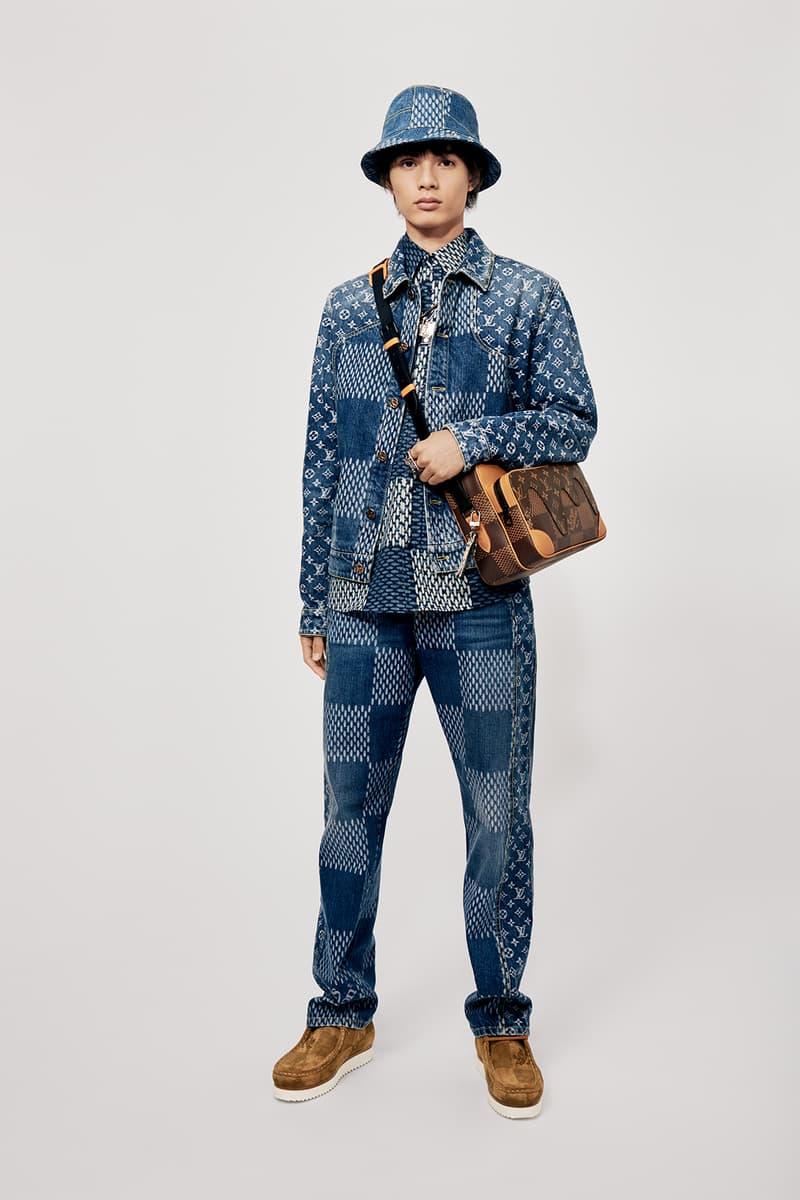 Louis Vuitton NIGO x Virgil Alboh LV2 Collection Lookbook Denim Jacket Jeans Bucket Hat Damier Check Blue