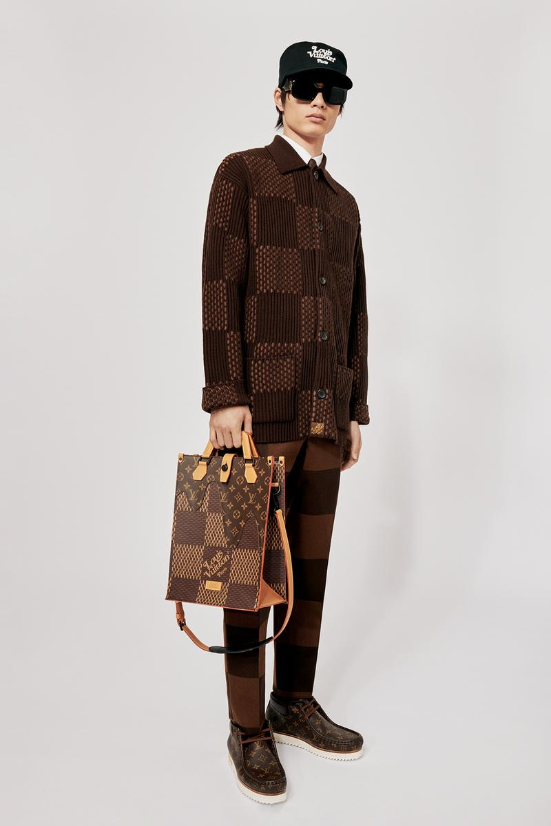 Louis Vuitton NIGO x Virgil Alboh LV2 Collection Lookbook Jacket Pants Damier Check Brown Tote Bag