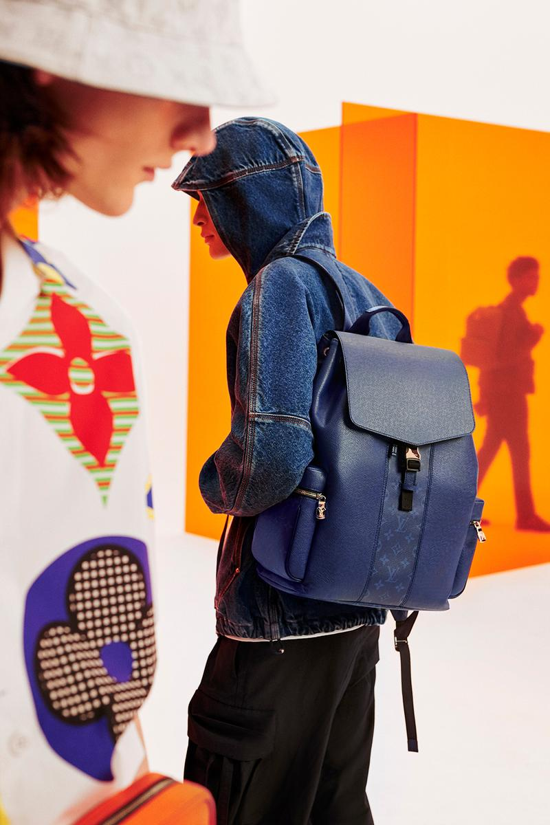 louis vuitton taigarama collection leather designer backpack suitcase wallet virgil abloh bright navy blue