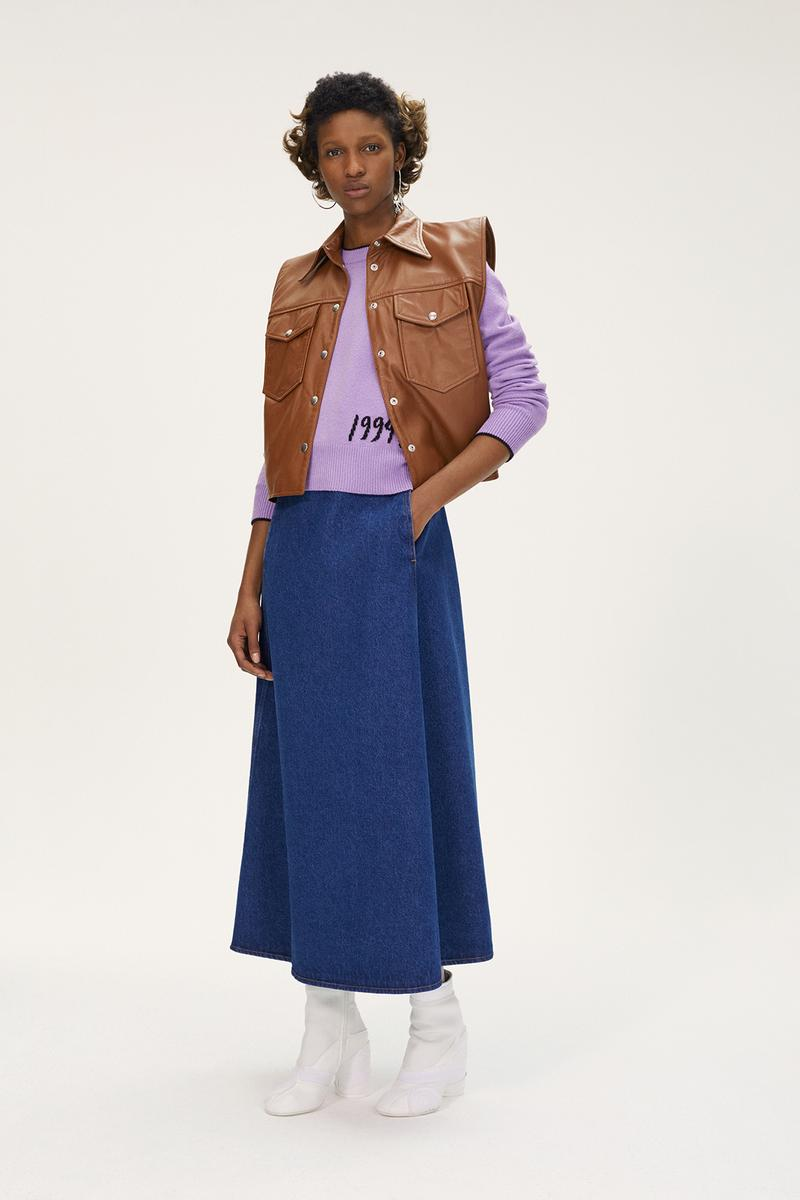 MM6 Maison Margiela Spring/Summer 2020 Collection Lookbook Leather Vest Denim Skirt