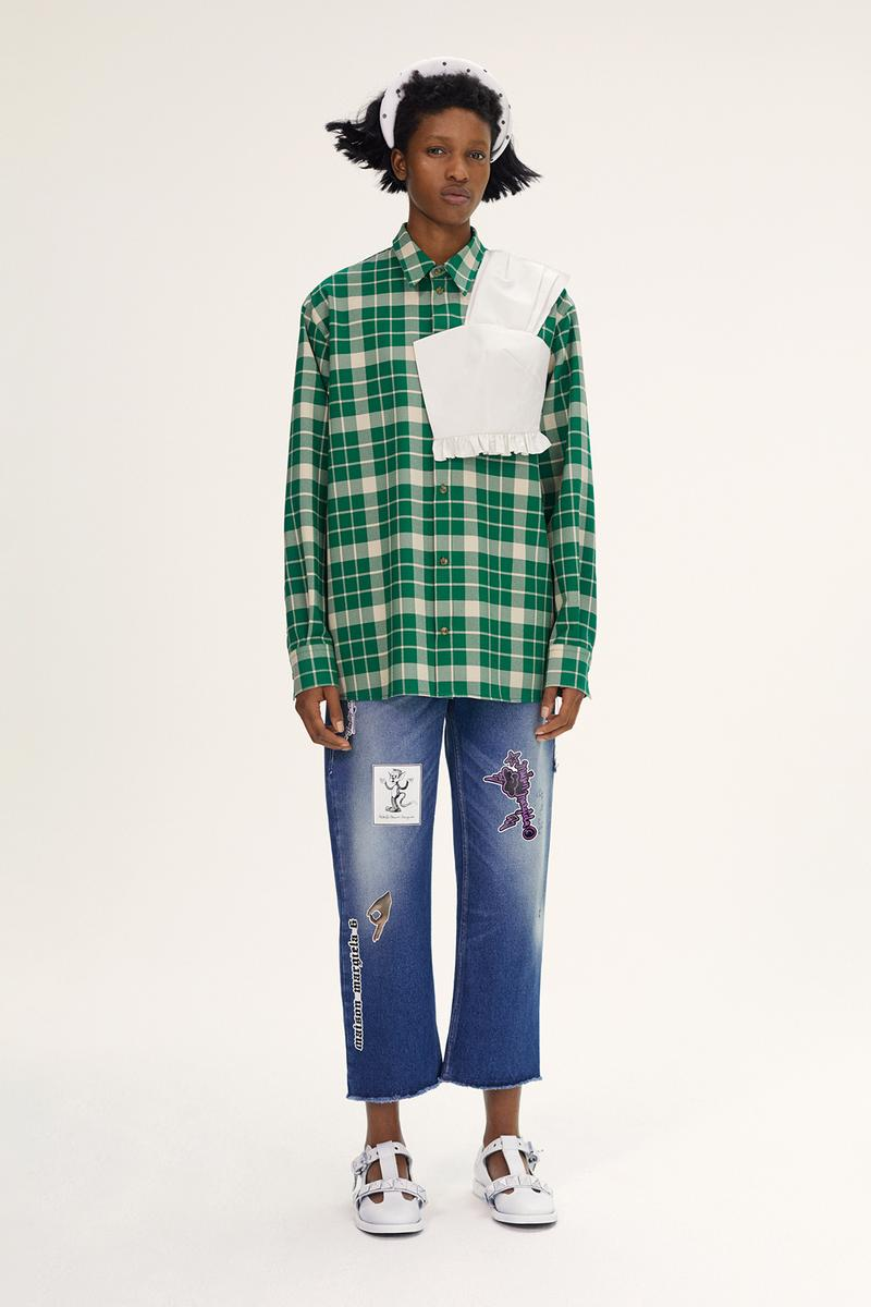 MM6 Maison Margiela Spring/Summer 2020 Collection Lookbook Plaid Shirt Green Patchwork Jeans