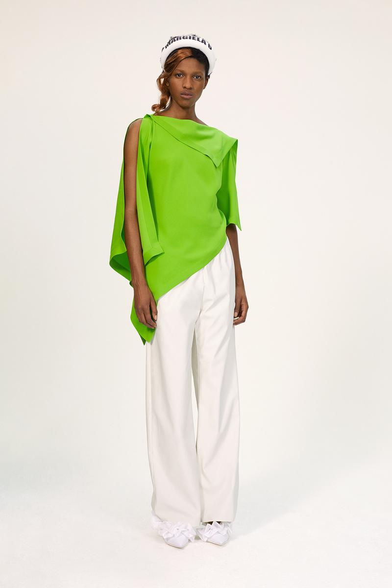 MM6 Maison Margiela Spring/Summer 2020 Collection Lookbook Draped Top Green White Trousers