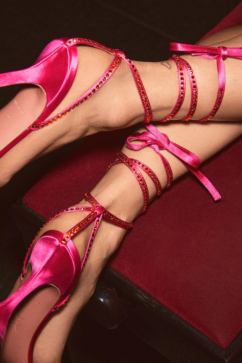 Mytheresa x Amina Muaddi Capsule Collection Lace Up Sandal Pink
